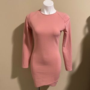 Missguided long sleeve pink bodycon dress size 8